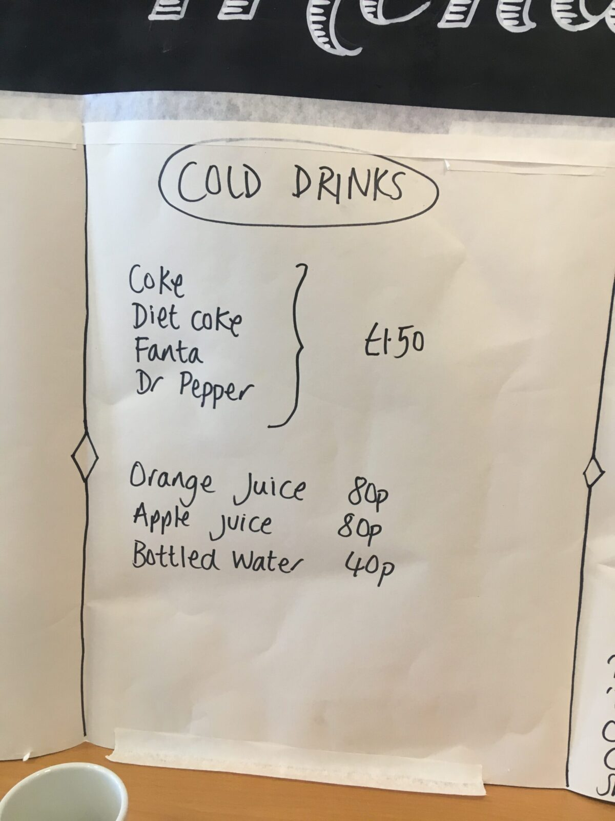 menu drinks